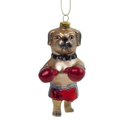 Boxing Boxer Dog Glass Christmas Tree Bauble Novelty Decoration