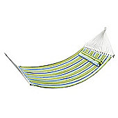 Outsunny Double Wide Wooden Outdoor Cotton Hammock Swing Bed w/ Pillow (Blue and Green)