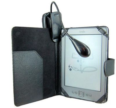 U-bop Vertical Neo-ORBIT Leather Case With LED Light Amazon Kindle 4, Black