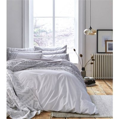 Bianca Cotton Soft Embroidered Cotton Aztec White Single Duvet Cover Set