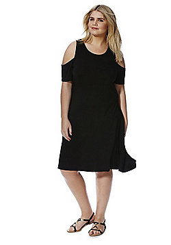 Junarose Cold Shoulder Plus Size Dress - Black