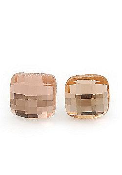 Light Peach Square Glass Stud Earrings In Silver Plating - 10mm Diameter