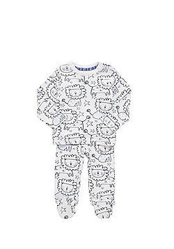 F&F Lion Print Pyjamas - White & Blue