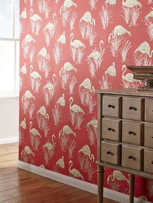 Vintage Lagoon Flamingo Wallpaper Coral Red Arthouse 252601