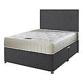 Happy Beds Ortho Royale Mattress Divan Bed Set Plain Headboard Charcoal