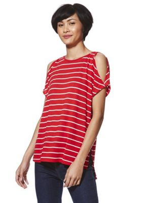 F&F Striped Split Sleeve T-Shirt Red 6