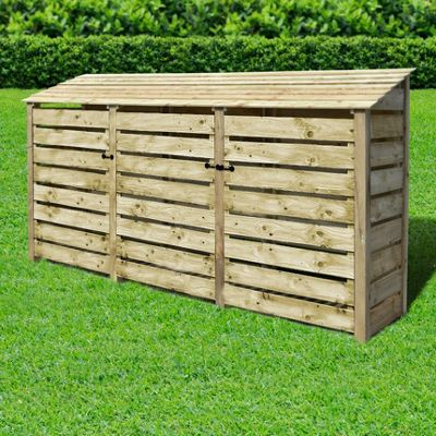 Empingham slatted wooden log store with doors - 6ft