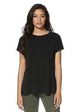 F&F Side Split Supersoft T-Shirt - Black