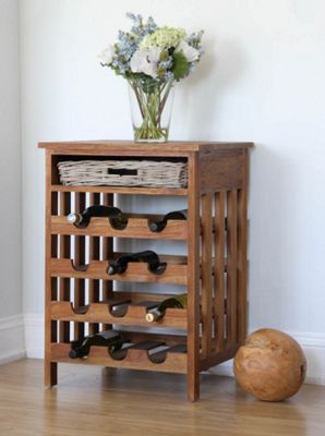 Reclaimed Teak Rustic Wine Rack with Kubu Wicker Drawer