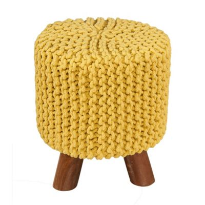 Homescapes Yellow Knitted Cotton Tall Footstool with Wooden Legs 42 x 32 x 32 cm
