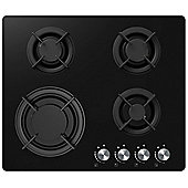 Cookology Gas-on-Glass Hob GGH605BK | 60cm, Built-in, Black Glass & Cast Iron Pan Supports