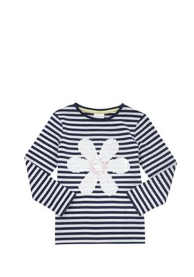 F&F Striped Sequin Daisy Long Sleeve T-Shirt Navy/White 12-18 months