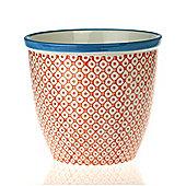 Patterned Plant Pot. Porcelain Indoor / Outdoor Flower Pot - Orange / Blue Print Design
