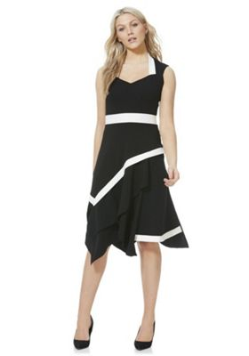 Feverfish Contrast Trim Asymmetric Midi Dress Black 16