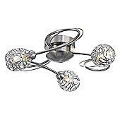 Modern Satin Nickel Ceiling Light Fitting with Wire Mesh and Crystal Shades