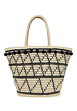 F&F Pom Pom Trim Straw Tote Bag