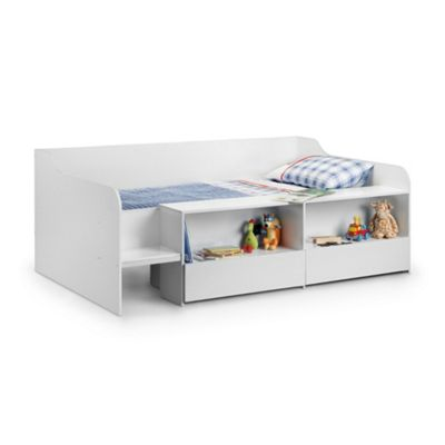 Happy Beds Stella Wood Kids Low Sleeper Cabin Storage Bed - White - 3ft Single