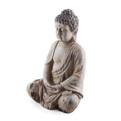 Sitting Driftwood Effect Resin Buddha Ornament