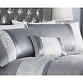 Catherine Lansfield Luxor Jacquard Silver Boudoir Cushion 30x40cm