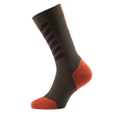 SealSkinz MTB Mid Socks with Hydrostop Olive/Brown/Orange Size: S