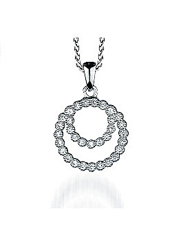 REAL Effect Rhodium Plated Sterling Silver White Cubic Zirconia Double Circle Charm Pendant - 16/18 inch