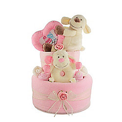 Pink Baby Girl Nappy Cake Gift With Lamb Soft Toys