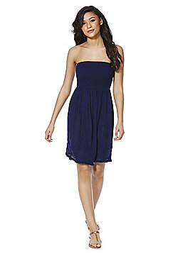 F&F Crochet Trim Crinkle Strapless Beach Dress - Navy