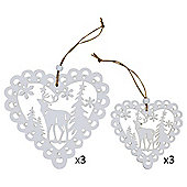 Set of 6 White Wooden Cut-out Scandi Heart Christmas Tree Decorations