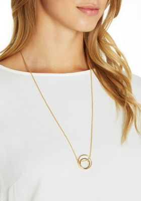 Pieces Double Circle Pendant Long Necklace