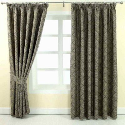 Homescapes Grey Jacquard Curtain Abstract Aztec Design Fully Lined - 46