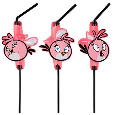 Angry Birds Pink Drinking Straws