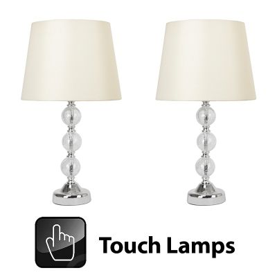 Buy pair of crackle glass ball touch table lamps chrome cream pair of crackle glass ball touch table lamps chrome cream shades aloadofball Image collections