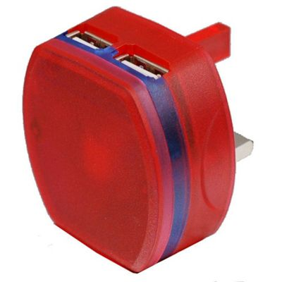 Dual USB At Home LED Compact Charger (Red) For Kobo Glo