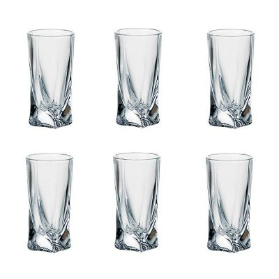 pack of 6 quadro deluxe bohemian crystal 50ml tall shot glasses twisted shaped design