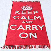 Homescapes Keep Calm And Carry On White Red Rug Hand Woven Base, 90 x 150 cm