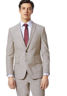 F&F Slim Fit Suit Jacket Taupe 42 Chest long length