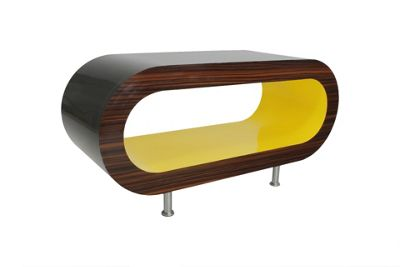 Hoop Coffee Table / Tv Stand Medium - Black - Zebrano - Yellow
