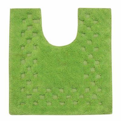 Homescapes Cotton Check Border Fern Green Pedestal Mat