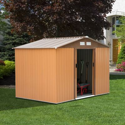 Outsunny Lockable Garden Shed (9 x 6FT, khaki)