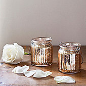Pair of Gold Glass Battery LED Tea Light Jars
