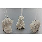 White Polar Bear Christmas Tree Decorations, 6 pack