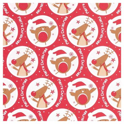 Tesco Reindeer & Robin Red Christmas Wrapping Paper, 10m