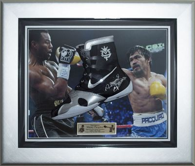 Signed Manny Pacquiao Nike Hyperko MP Framed Black Boxing Boot