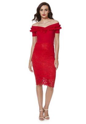 Feverfish Frill Trim Lace Bardot Dress 14 Red