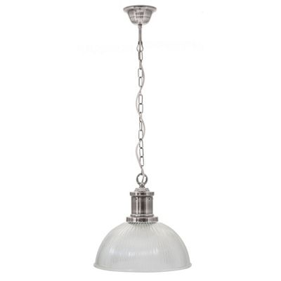 Clear Ribbed Glass Electrified Pendant
