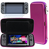 Navitech Purple Compact Travel Hard Carry Case and Screen Protector For The Nintendo Switch