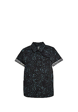F&F Botanical Print Short Sleeve Shirt - Black & Green