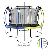Plum 12ft Colours Springsafe Trampoline & Enclosure - Snorkel Blue & Citrus Lime