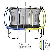 Plum 12ft Colours Springsafe Trampoline & Enclosure - Snorkel Blue & Citrus Lime