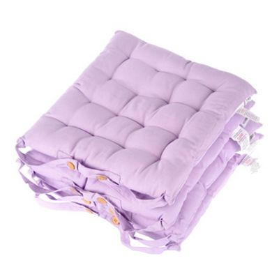 Homescapes Set of 4 Cotton Plain Mauve Seat Pads with Button Straps